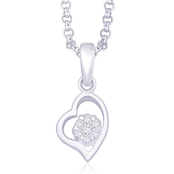 Taraash 925 Sterling Silver CZ Flower in Heart Pendant For Women's PD1506R