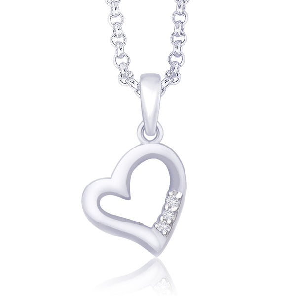 Taraash 925 Sterling Silver CZ Three Stone Heart Pendant PD1512R