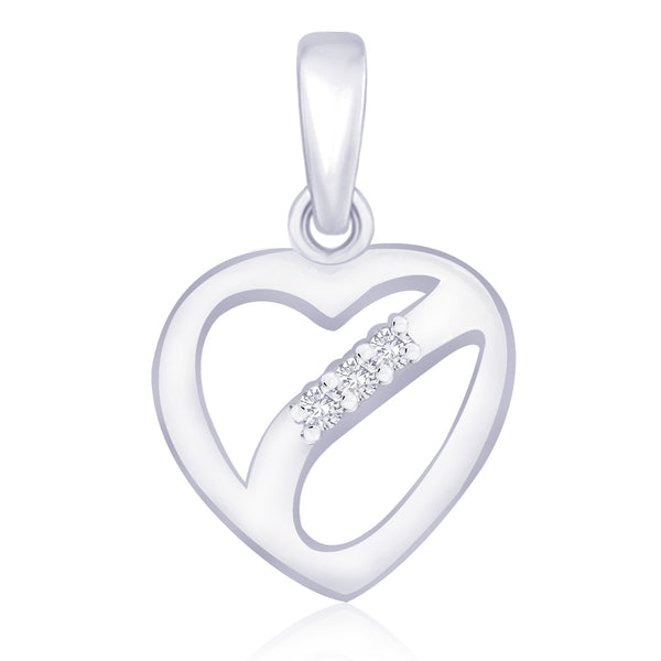 Taraash .925 Silver CZ Heart Pendant For Women's PD1513R
