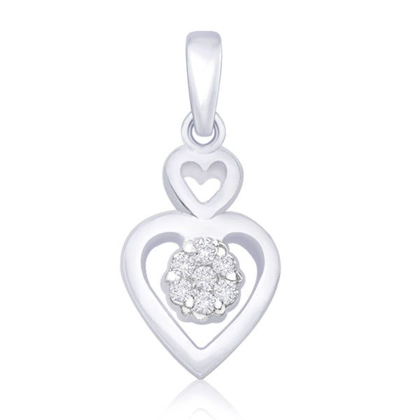 Taraash 925 Silver CZ Flower in Double Heart Pendant Gift For Women PD1515R