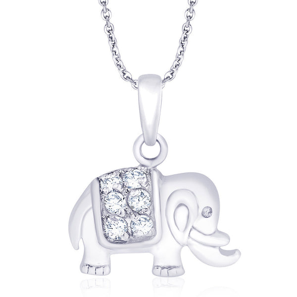 Taraash Rhodium Finish Elephant 925 Sterling Silver Pendant For Unisex PD1519R