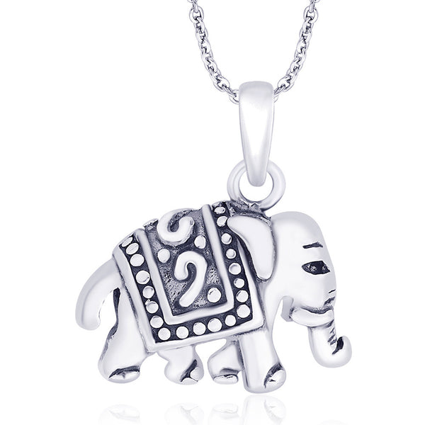 Taraash 925 Sterling Silver Antique Finish Elephant Pendant For Unisex PD1520A