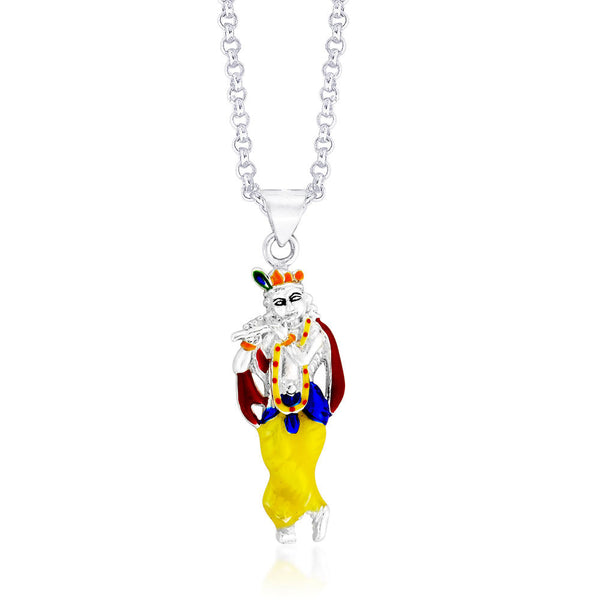 Taraash Krishna Multicolour Enamel Sterling Silver Pendant For Unisex PD1544S