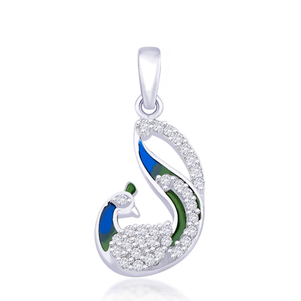 Taraash .925 Silver CZ Multicolored Enamel Peacock Pendant For Women PD1600R