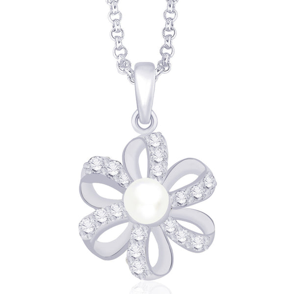 Taraash 925 Sterling Silver CZ Floral Pendant for women PD1610R