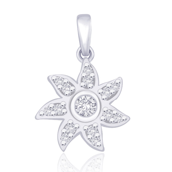 Taraash 925 Sterling Silver CZ Floral Pendant For women PD1616R