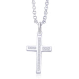 Taraash 925 Sterling Silver Cross CZ Pendant for Unisex PD1620S