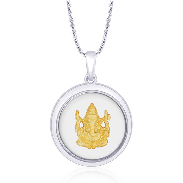 Taraash 925 Sterling Silver with Gold Plated Ganeshji Pendant For Unisex PD1632G
