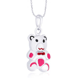 Taraash 925 Sterling Silver Pink Enamel Teddy Bear Pendant For Women PD1675S