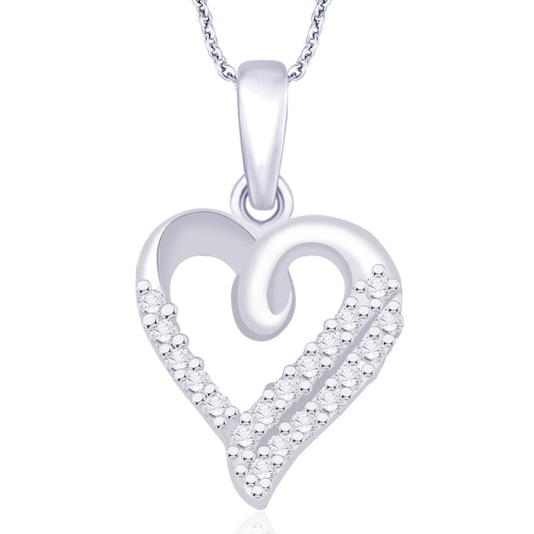 Taraash 925 Sterling silver Double Line Heart CZ Pendant For Women PD1733R