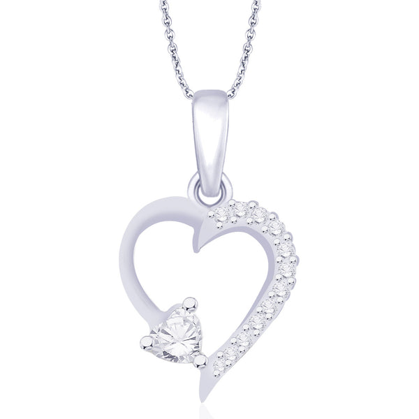 Taraash 925 Sterling Silver CZ Heart Pendant PD1734R