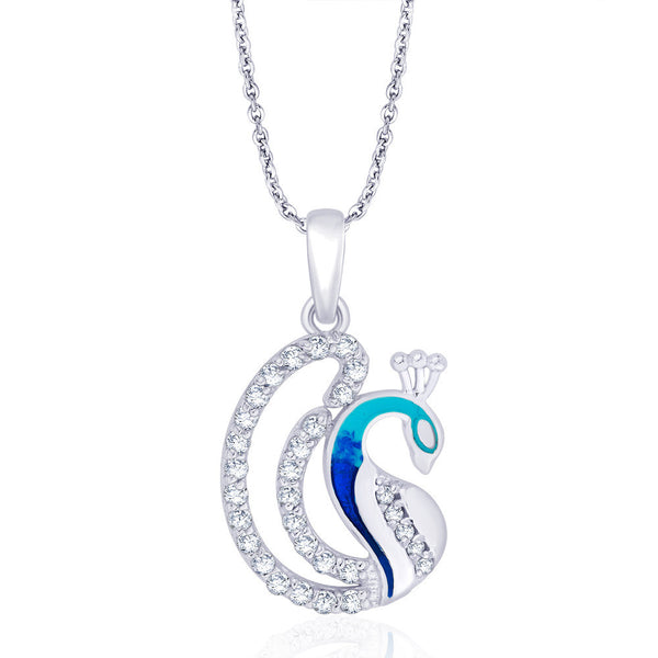 Taraash Cz & Blue Enamel Peacock 925 Sterling Silver Pendant For Women PD1736S