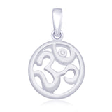 Taraash 925 Sterling Silver CZ Om Pendant for unisex PD1745R
