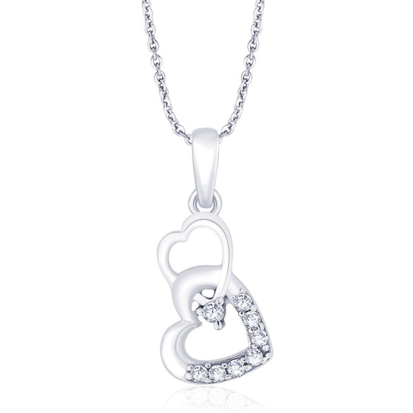 Taraash 925 Sterling Silver Double Heart Pendant for women PD1792R