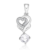 Taraash 925 Sterling Silver Double Heart Shape Combo Pendant With Chain For Women COMBO PDCH 168