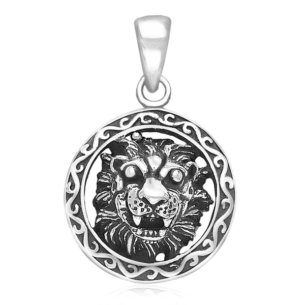 Taraash Sterling Silver Lion Face Pendant for men PD1893A