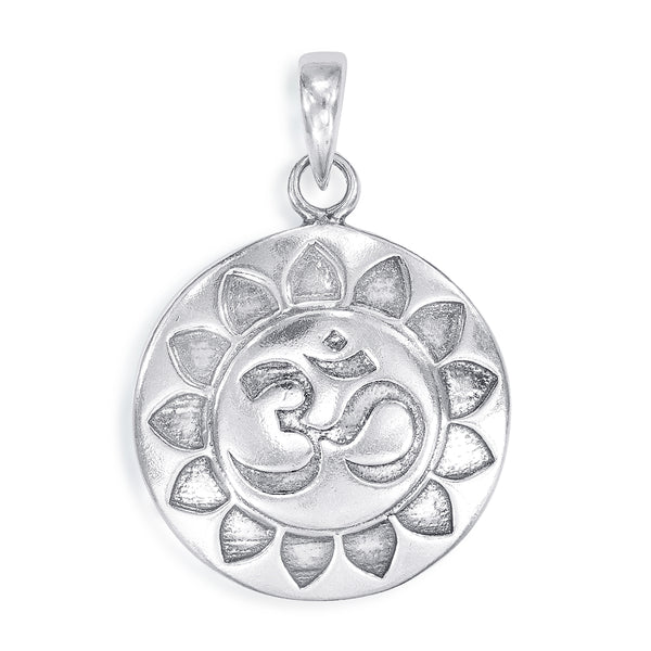 Taraash 925 Sterling Silver Yoga Lotus Om Pendant For Men PD1954A