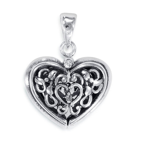 "Taraash Sterling Silver ""Forever Love"" Hidden Message Heart Pendant PD2055A"