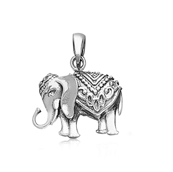 Taraash 925 Sterling Silver Antique Elephant Pendant For Men PD2074A