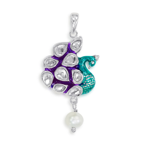 Taraash Sterling Silver Pretty Kundan Studded Peacock Pendant For Women PD2077S