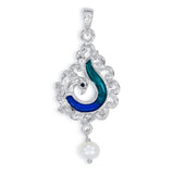 Taraash Sterling Silver Enamel Peacock With Hanging Pearl Pendant For Women PD2079S