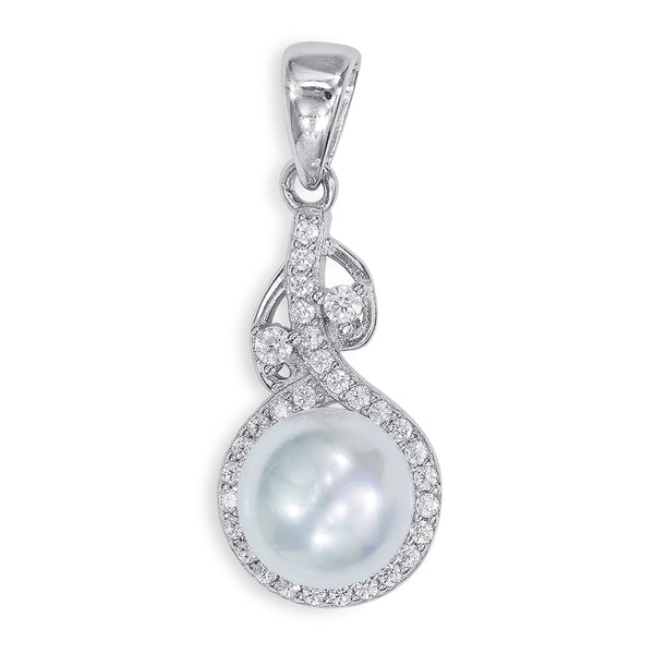 Taraash Sterling Silver Classic CZ With Pearl Adorn Pendant For Women PD2102R
