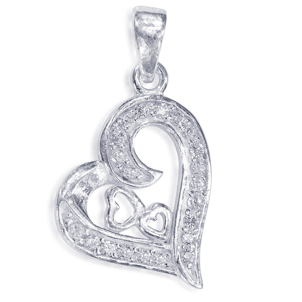 Taraash 925 Sterling Silver CZ Heart Shape Pendant For Women PD2181S