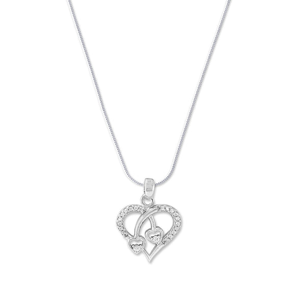 Taraash 925 Silver Love CZ Heart Peandant with Chain for Women
