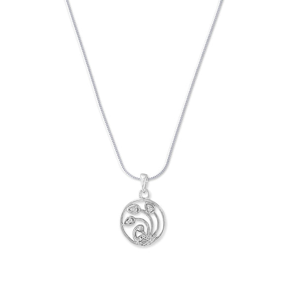 Taraash 925 Silver Round Peacock Design Pendant with Chain