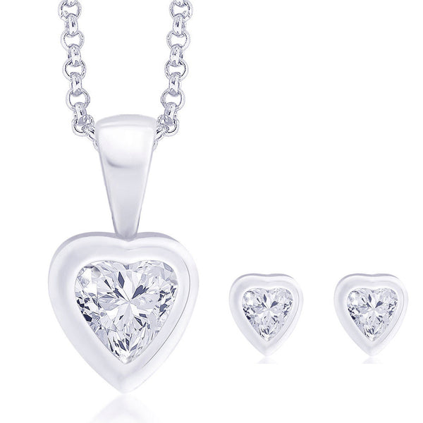 Taraash White CZ Heart 925 Sterling Silver Pendant Set For Women PE0824S