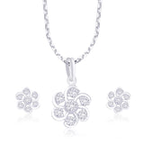 Taraash Floral CZ 925 Sterling Silver Pendant Set For Women PE1073R
