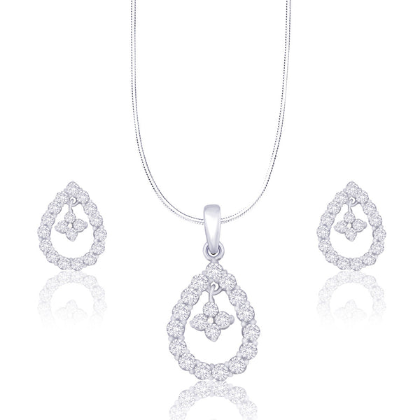 Taraash Fancy CZ Studded 925 Sterling Silver Pendant Set For Women PE1075R