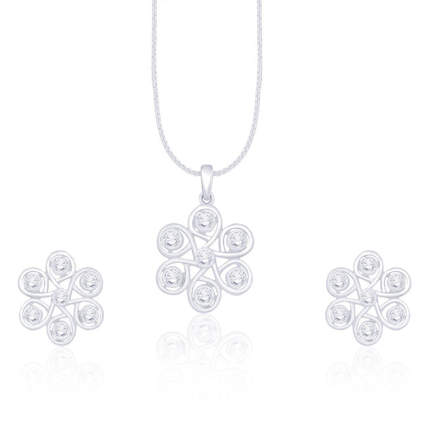 Taraash White Stone 925 Sterling Silver Pendant With Matching Earrings For Womens PE1153R
