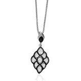 Taraash Cz Studded With Black Enamel 925 Sterling Silver Pendant Set For Women PE1178R