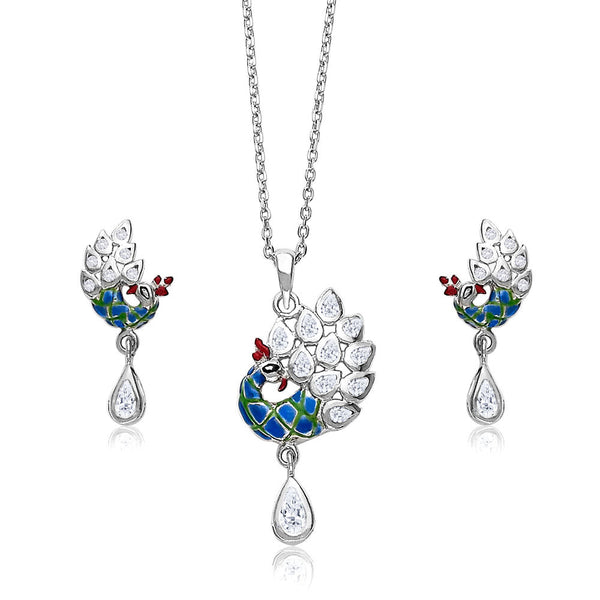 Taraash Multicolour Enamel CZ Peacock 925 Sterling Silver Pendant Set For Women PE1183R
