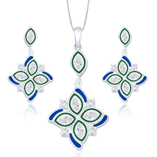 Taraash 925 Sterling Silver Floral Pendant set for women PE1228S