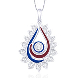 Taraash 925 Sterling Silver Tear Drop Shape Pendant set for women PE1230S