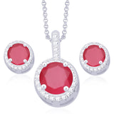 Taraash 925 Sterling Silver White & Pink CZ Pendant With Earrings Set PE1248C