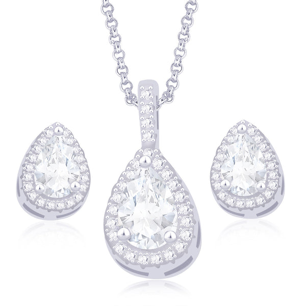 Taraash 925 Sterling Silver Pear Shape White Cz Pendant Set For Women PE1249A