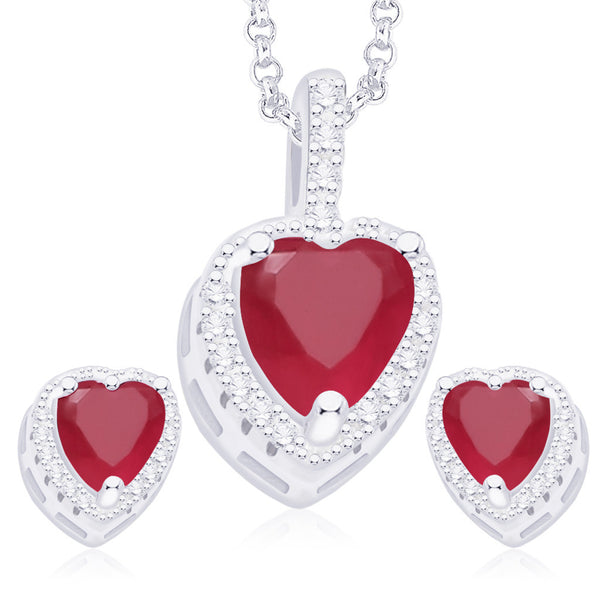 Taraash 925 Sterling Silver Pink & White CZ Heart Pendant Set PE1251C