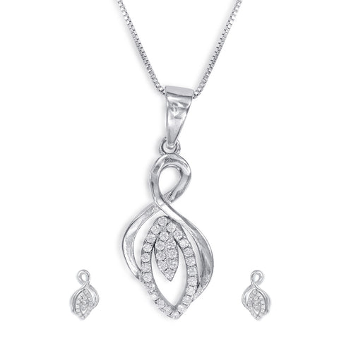 Silver pendant sets silver pendants for women designer pendant taraash sterling silver cz adorable design pendant set for women pe1291r aloadofball Gallery