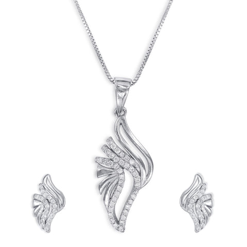 Silver pendant sets silver pendants for women designer pendant taraash sterling silver cz captivating design pendant set for women pe1293r aloadofball Image collections