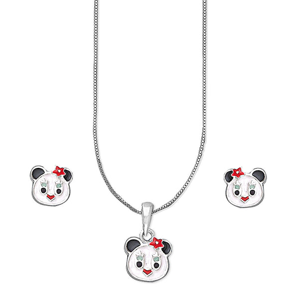 Taraash 925 Silver Teddy Bear Pendant Set For Kids/Girls