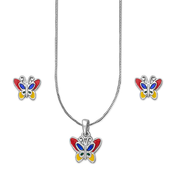 Taraash 925 Silver Butterfly Pendant Set For Kids/Girls