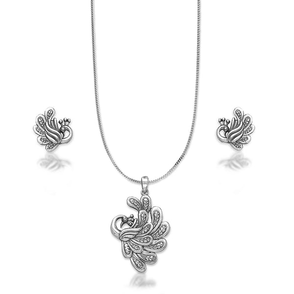 Taraash 925 Silver Peacock Design Pendant Set for Women
