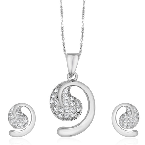 Taraash Sterling Silver CZ Pave Set CZ pendant Set For Women PEM2002V