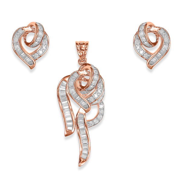 Taraash Rose Gold Sterling Silver Sparkling CZ Pendant Set For Women PEM2028G