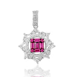 Taraash Sterling Silver Pink White Tapered Cut CZ Round Pendant For Women