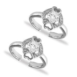 Taraash Sterling Silver Round CZ Heart Design Toe Ring For Women