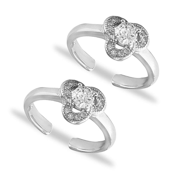 Taraash 925 Silver Floral Design CZ Toe Ring For Women